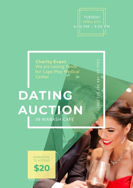 Ontwerpsjabloon van Poster van Dating Auction Announcement with Smiling Woman
