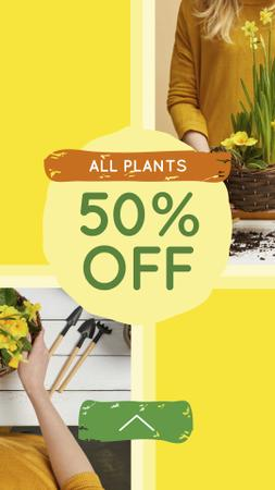 Plants Discount Offer with Woman planting Flowers Instagram Storyデザインテンプレート