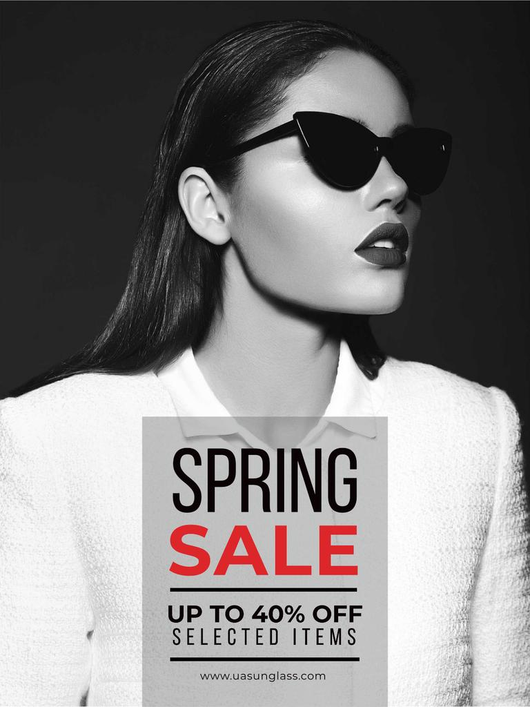 Spring Sale with Beautiful Girl in Black and White — Maak een ontwerp