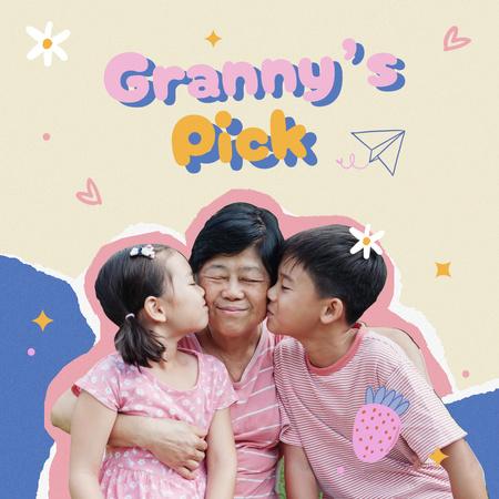 Cute Grandchildren kissing their Granny in Cheek Instagram Design Template