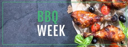 Ontwerpsjabloon van Facebook cover van Barbeque Week Announcement