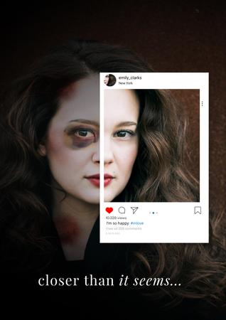 Social Issue Coverage with Mutilated Woman's Face Poster – шаблон для дизайну