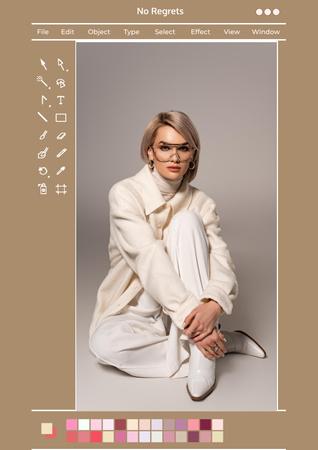 Modèle de visuel Beautiful Young Woman posing in City - Poster