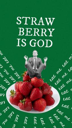 Funny Businessman meditating on Strawberries Instagram Story – шаблон для дизайна