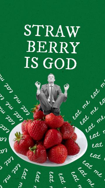 Funny Businessman meditating on Strawberries Instagram Story tervezősablon