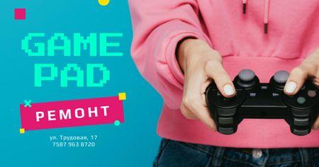 Repair Services Girl holding joystick Facebook AD – шаблон для дизайна