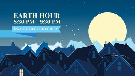 Ontwerpsjabloon van FB event cover van Earth Hour Announcement with Dark Village
