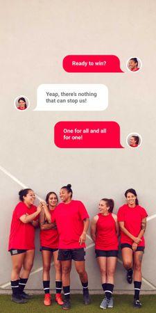 Plantilla de diseño de Successful Girls' Football team Graphic