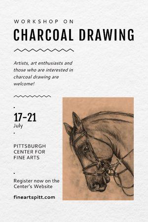 Modèle de visuel Drawing Workshop Announcement Horse Image - Tumblr