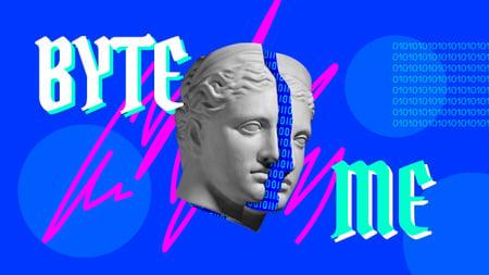 Plantilla de diseño de Funny Illustration with Split Antique Statue Youtube Thumbnail
