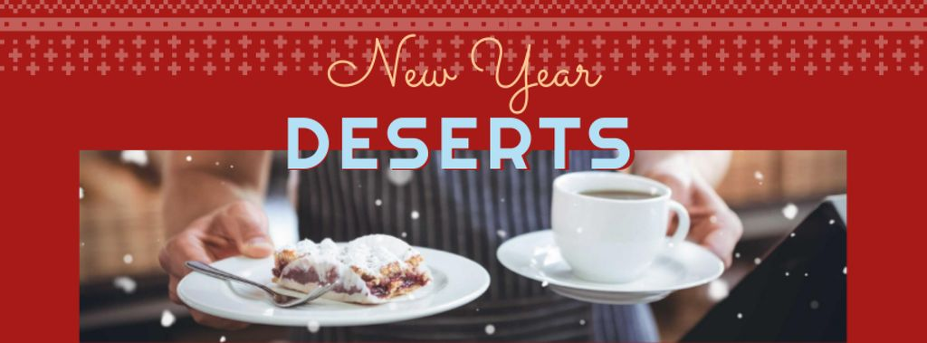 Plantilla de diseño de New Year Holiday Desserts Offer Facebook cover