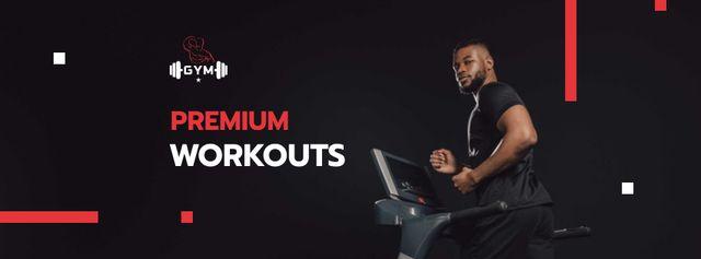 Premium Workouts Offer with Man on Treadmill Facebook cover Modelo de Design