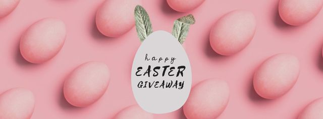 Easter eggs with bunny ears in pink Facebook Video cover – шаблон для дизайна