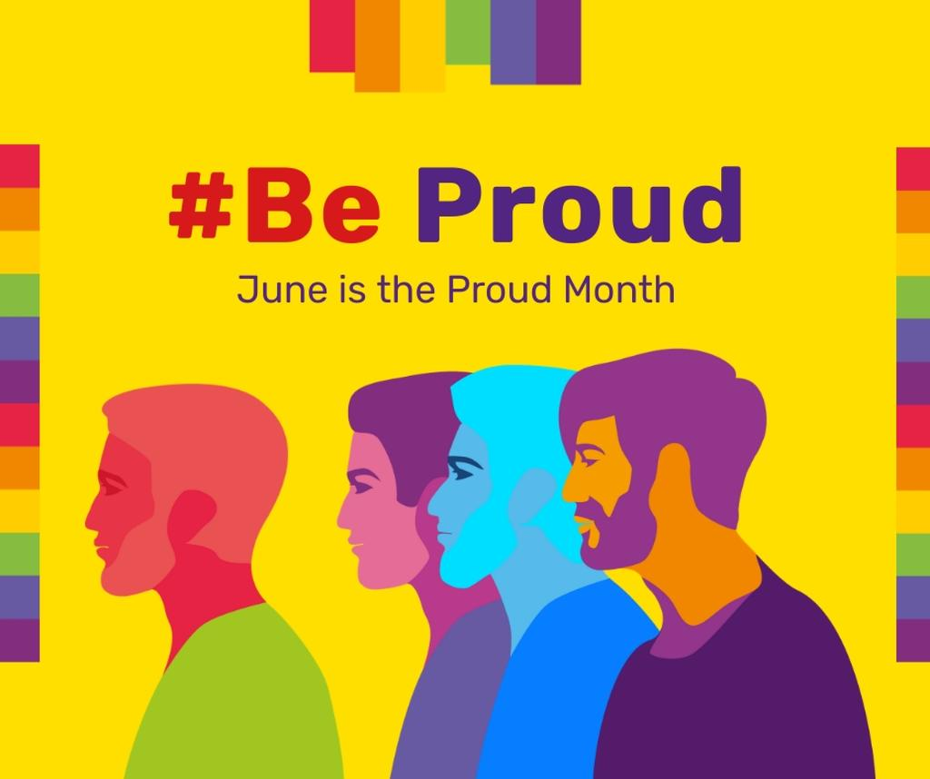 Diverse men rainbow silhouettes on Pride Month — Створити дизайн