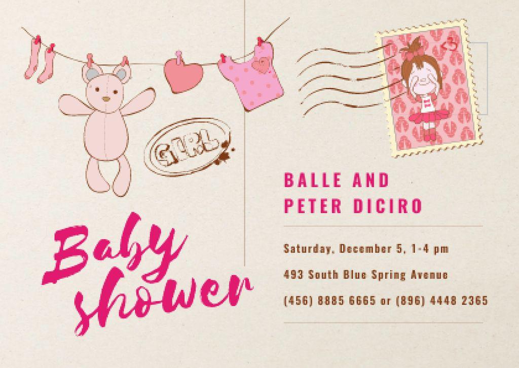 Baby Shower Invitation Hanging Toys in Pink Card – шаблон для дизайна