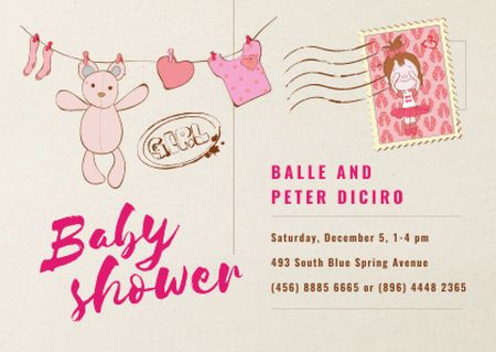 Plantilla de diseño de Baby Shower Invitation Hanging Toys in Pink Card