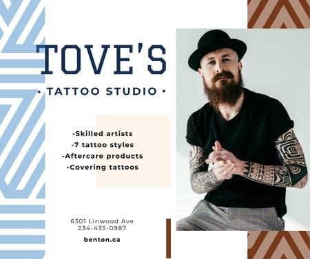 Tattoo Studio ad Young tattooed Man Facebook Tasarım Şablonu