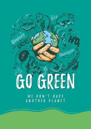 Modèle de visuel Eco lifestyle Concept with Planet in Hands - Poster