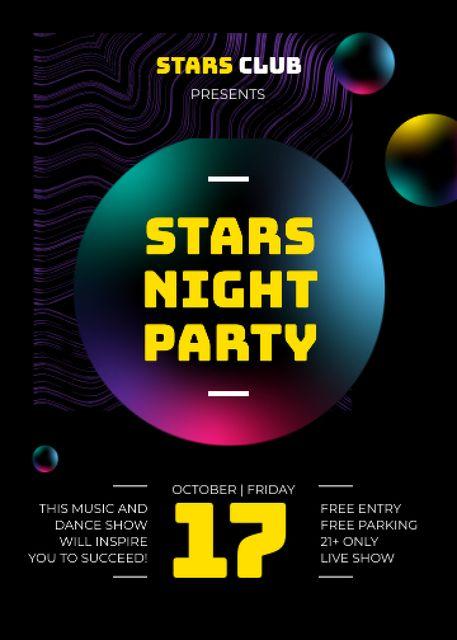Night Club Glowing Spheres Pattern Flayer – шаблон для дизайну
