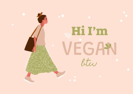 Vegan Lifestyle Concept with Stylish Woman Postcardデザインテンプレート