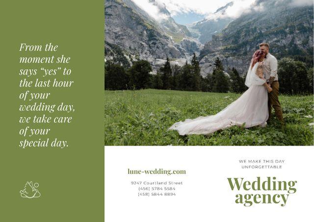 Ontwerpsjabloon van Brochure van Wedding Agency Ad with Happy Newlyweds in Majestic Mountains