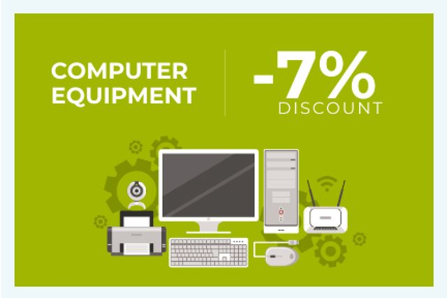 Plantilla de diseño de Discount for computer equipment Gift Certificate