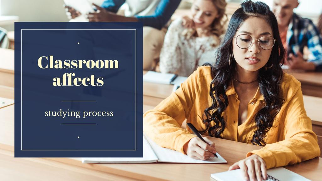 Template di design Girl studying in classroom Presentation Wide