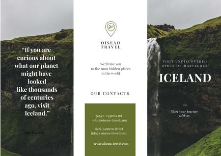 Iceland Tours Offer with Mountains and Horses Brochure Design Template