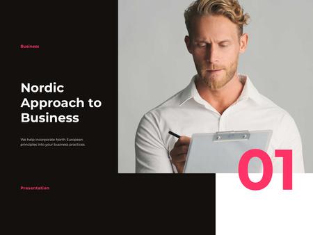 Successful Businessman writing Report Presentation tervezősablon