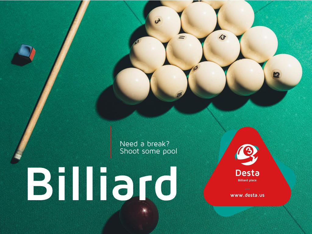 Billiard Club ad Balls on Table Presentation Design Template