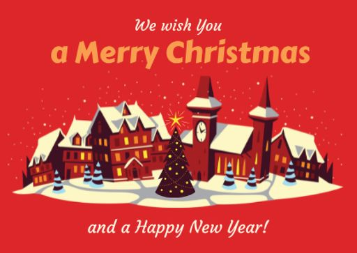 Merry Christmas Greeting With Snow On Night Village