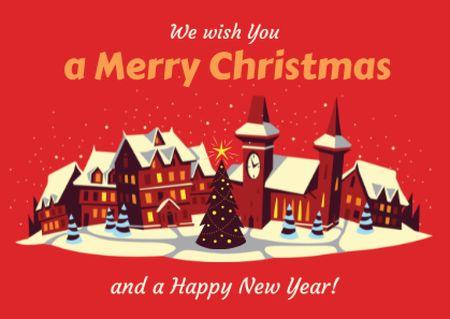 Ontwerpsjabloon van Postcard van Merry Christmas Greeting with Snow on Night Village