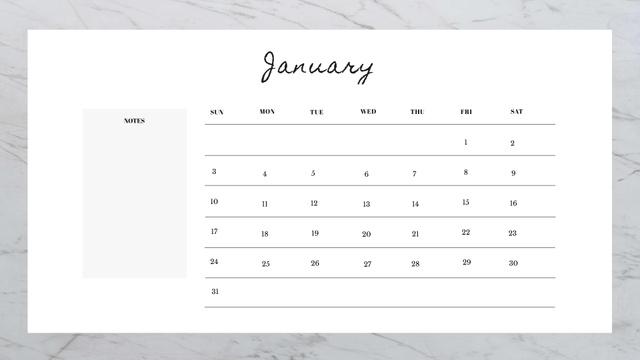 Beautiful Marble Stone Calendar Design Template