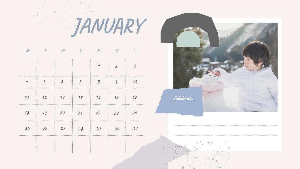 Happy Kids playing outdoors Calendar Design Template