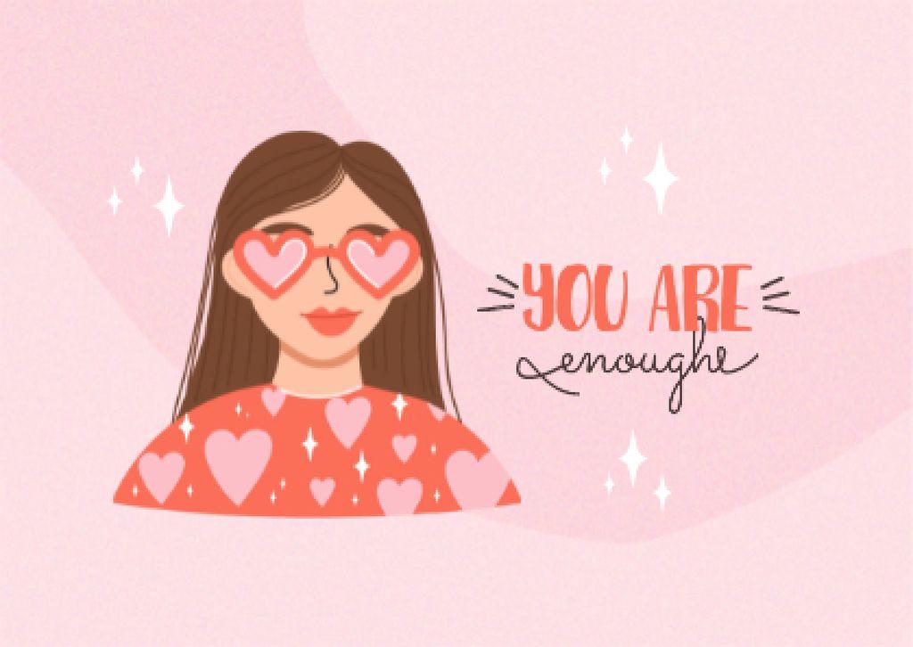 Plantilla de diseño de Mental Health Inspiration with Girl in Cute Sunglasses Postcard