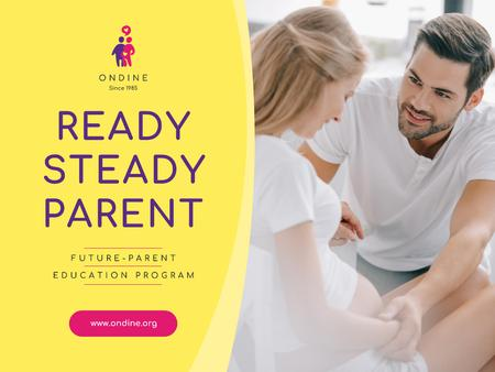 Parenting Courses with Happy Pregnant Woman Presentation Design Template