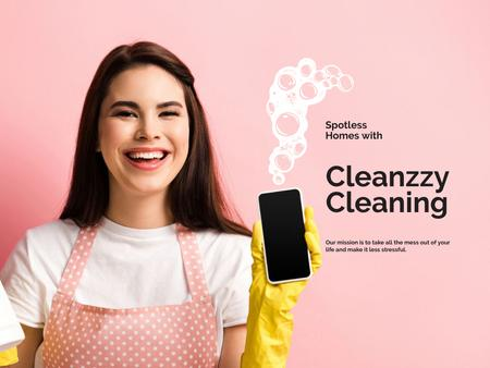 Cleaning Services Offer with Smiling Girl Presentation Design Template