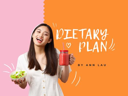 Template di design Dietary Plan with Girl holding Healthy Food Presentation