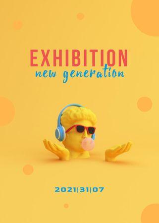Modèle de visuel Exhibition announcement with funny sculpture - Flayer