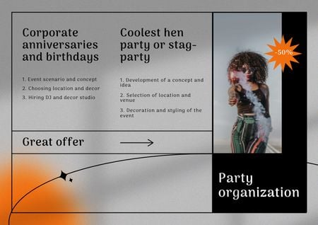 Party Organization Services Offer with Woman in Bright Outfit Brochure Design Template