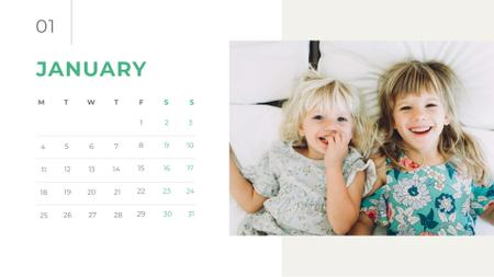 Cute Happy Children Calendar Design Template