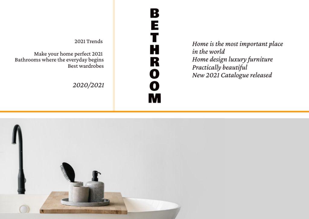 Plantilla de diseño de Bathroom Accessories on Wash Basin Brochure