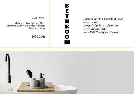 Ontwerpsjabloon van Brochure van Bathroom Accessories on Wash Basin