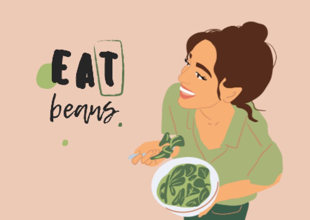 Vegan Lifestyle Concept with Woman eating Healthy Dish Postcardデザインテンプレート