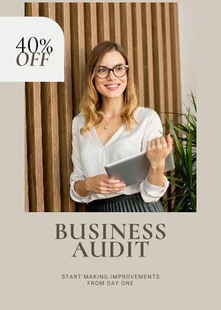 Modèle de visuel Business Audit Services Ad Confident Businesswoman - Flayer