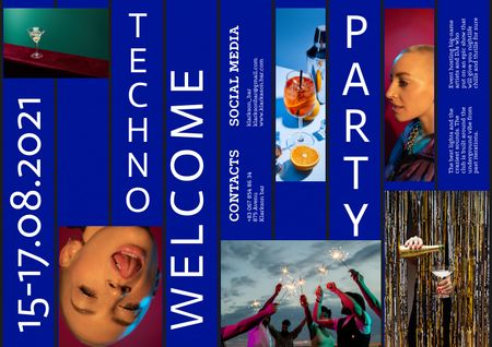 Template di design Techno Party Announcement with Stylish People Brochure