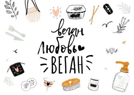 Vegan Lifestyle Concept with Eco Products Postcard – шаблон для дизайна
