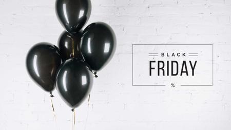 Black Friday Ad with Black Balloons Presentation Wide – шаблон для дизайна
