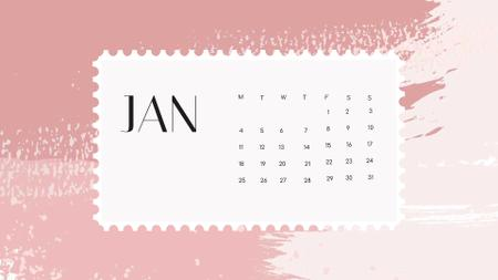 Colorful Paint blots in pink tones Calendar Design Template