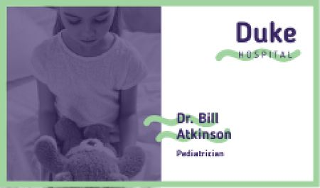 Ontwerpsjabloon van Business card van Girl with teddy bear in hospital
